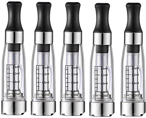 Techstuph Ego New & Improved 5pcs/Pack CE4 Clear(Transparent),1.6ml Capacity Atomizer Compatible...