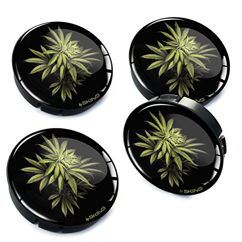 Biomar Labs® 4 x 60mm Tapas de Rueda de Centro Tapacubos para Coche Flores de Marihuana C 15