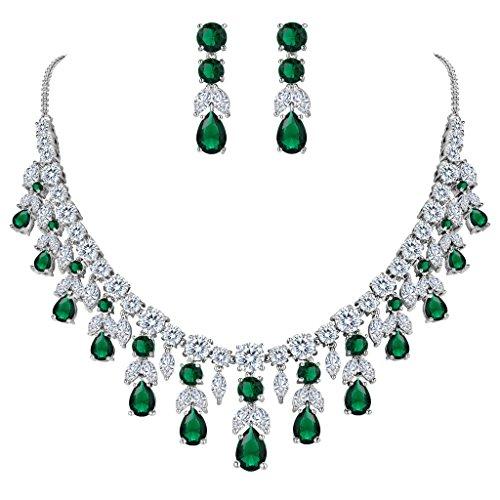 Clearine Donna Parure Gioielli Matrimonio Nuziale Grappolo Foglia lacrima Collana Ciondolano Orecchini Set Smeraldo Colore Argento-Fondo