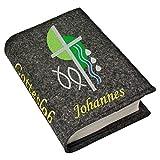 Gotteslob Gotteslobhülle Hülle Kreuz 2 grün Filz mit Namen bestickt Einband Umschlag personalisierte Gesangbuchhülle, Farbe:grau meliert