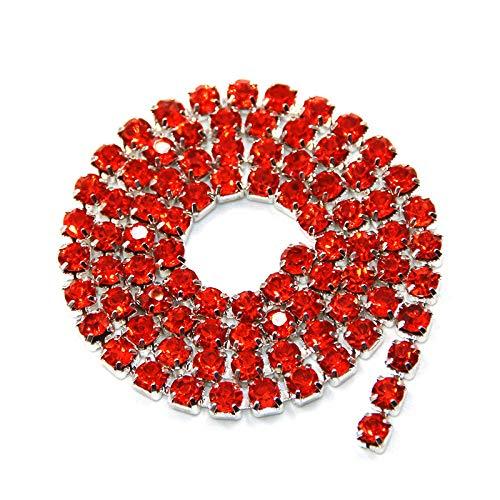 AUBERSIT 5 Yardas/Paquete Cadena de Copa de Diamantes de imitación de Cristal Naranja con Base de Astilla, Accesorios para Vestidos de Novia de Ropa de Bricolaje, Naranja, ss16 4.0 mm