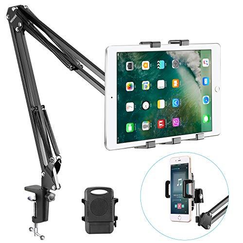 Neewer 40086128 - Universal Kit de Micrófono Soporte para teléfono, (brazo de metal resistente, acolchado, ajustable, Negro