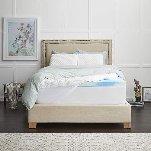 "Sealy 4"" SealyChill Gel + Comfort Pillowtop Memory Foam Mattress Topper, Queen, White"