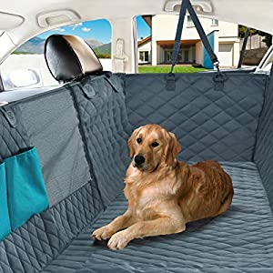 Nat-Hom Dog Seat Cover with View mesh, Pet Seat Cover Zipper Pockets Dog Car Seat Covers Cars, Trucks Suv's -Waterproof & Nonslip Backing-Grey Standard