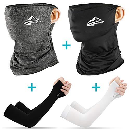 TTMOW (4 Stück Set) Motorrad Halstuch Mundschutz mit Arm-Ärmel, Schlauchschal Multifunktionstuch für Herren und Damen, Kühl, Atmungsaktiv und UV-beständig