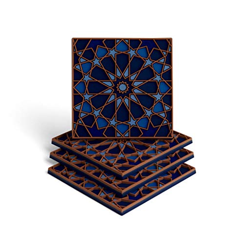MOSAICANA Coasters for Drinks - Set of 4 Coasters, Silicone, Protect Against Water Marks or Damage - Fit All Cups, 3.5' Inch Size Fits, Colored Coasters (Blue Shades)