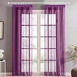 Topfinel Transparente Visillos da Panels Modernas Visillos para Ventanas Cortinas Dormitorio con Plisado de Lápiz 2 Piezas 140x160cm Morado