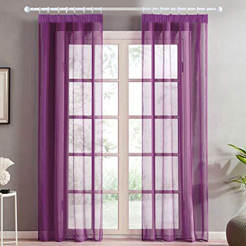 Topfinel Voile Vorhänge mit Kräuselband in Leinen-Optik Transparent für Wohnzimmer Schlafzimmer Fenster Einfarbige Gardinen Lila 2er Set je140x245cm (BxH)