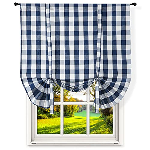 "Blue White Farmhouse Tie Up Curtains, Gingham Buffalo Plaid Kitchen Decor Linen Burlap Checkered Roman Curtain Valance Rod Pocket for Cafe Bathroom Short Window Shade, 46"" x 63"""