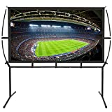 Portable Projector Screen with Stand, Indoor and Outdoor Movie Screen 120' Diagonal 16:9 with Wrinkle-Free Design (Easy to Clean, 1.1 Gain, 160° Viewing Angle and Includes a Carry Bag) (120')