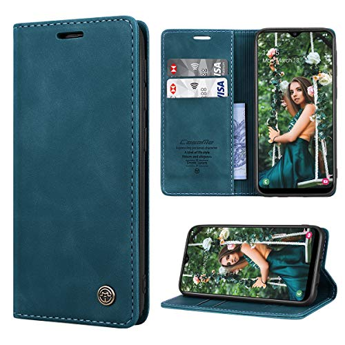 RuiPower Kompatibel für Samsung Galaxy A20E Hülle Premium Leder PU Handyhülle Flip Case Wallet Lederhülle Klapphülle Klappbar Silikon Bumper Schutzhülle für Samsung A20E Tasche - Blaugrün