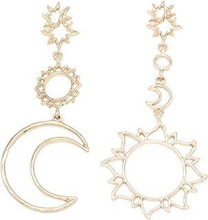 Elegante 925 Silber Asymmetrische Perle Sonne Mond Ohrringe für Mädchen Schmuck