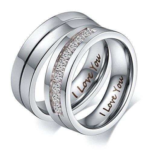 Aeici Eheringe Ring für Herren Neun Cz Versprechen Verlobungs Silberringe Größe 67 (21.3)