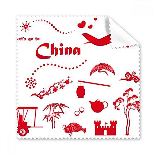 Laten we naar China Bamboe Lantaarn Peacock Plane Theepot Boom Bril Doek Schoonmaak Doek Gift Telefoon Scherm Cleaner 5 stks