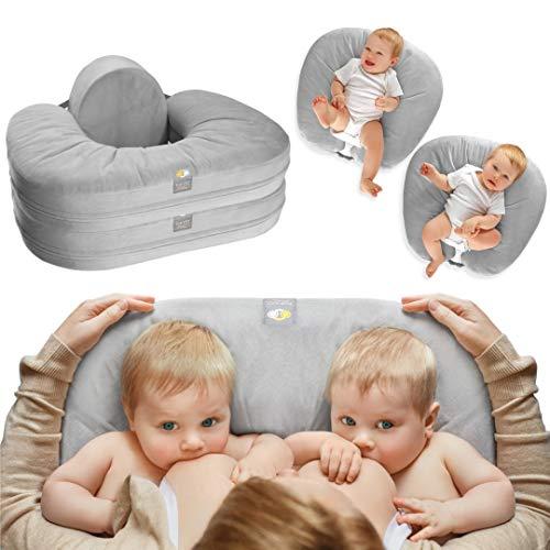 TwinGo Nurse & Lounge Pillow (Grey) - Breastfeeding Pillow for Twins or Two Lounge Pillows || 8 uses || XS to Plus Size Woman || Preemie 0-12+ mo Babies