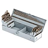 COMOWARE Cobalt Drill Bit Set- 115Pcs M35 High Speed Steel Twist Jobber Length for Hardened Metal, Stainless Steel, Cast Iron and Wood Plastic with Metal Indexed Storage Case, 1/16' - 1/2'