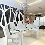 <span class='highlight'><span class='highlight'>WEIBO</span></span> 5PCS Glass Dining Table Set with 4 Soft Leather Chairs in White