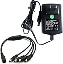 AC 100-240V to DC 12V 2A 2000mA Power Supply Adapter Switching +4 Split Power Cable for CCTV Security Camera DVR NVR Led Strip UL Listed FCC