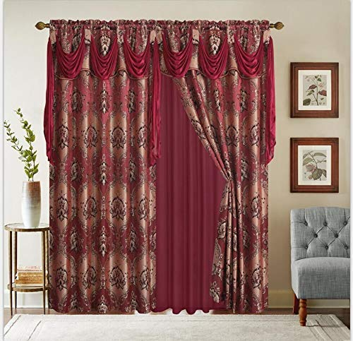LinenTopia Classical Jacquard Window Drape Set (2 Panels), Includes Valance and Sheer Backing, Traditional Victorian Style Floral Curtain Drape Panels for Living Rooms, (Elsa, 63, Burgundy)