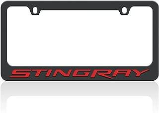 West Coast Corvette C7 Stingray Script License Plate Frame - Black w/Red Script