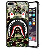 iPhone 7 Plus Case, Fashion iPhone 8 Plus Cases for Men Boys Camo Slim Fit Luxury Tempered Glass Cover and Soft Silicone Shockproof Bumper Protective Case for iPhone 7 Plus /8 Plus, Army Green Shark