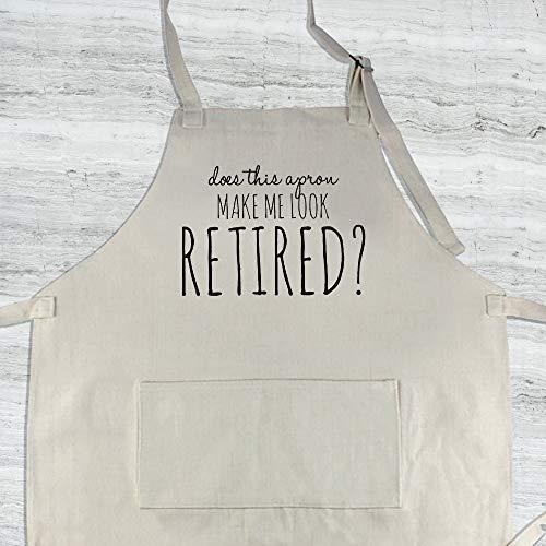 H421ld ¿Este delantal me hace parecer retirado? Delantal de lino divertido para mujer, delantal de jubilación divertido para hombres, delantal de cocina, regalo para abuelos.