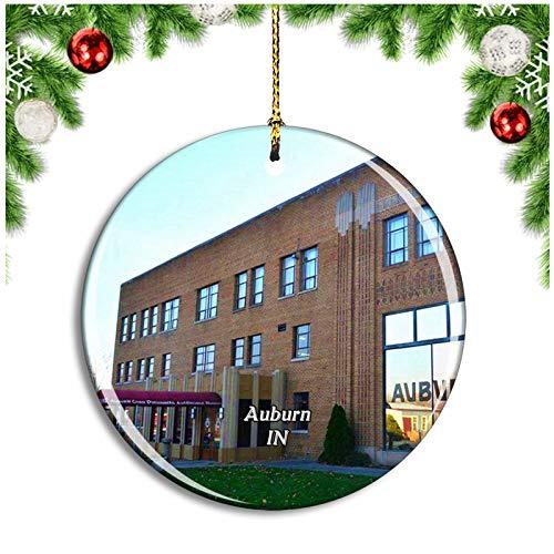Weekino Auburn Automobile Museum Indiana USA Christmas Ornament Xmas Tree Decoration Hanging Pendant Travel Souvenir Collection Double Sided Porcelain 2.85 Inch