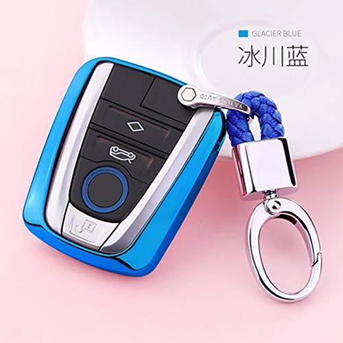 SUNQQB Weiche TPU autoschlüssel case Abdeckung für BMW i3 i8 Serie Auto Styling Schutz schlüsseloberteil schlüsselbund Ring zubehör schlüsselbund,I-Blue with Keychain