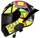 Casco de Moto Modular Bluetooth Integrado con un Micrófono Incorporado Anti Niebla Visera Doble ECE/Dot Homologado Unisexo para Motocicleta Bicicleta Scooter Cascos de Moto Modulares C,M:57-58 CM