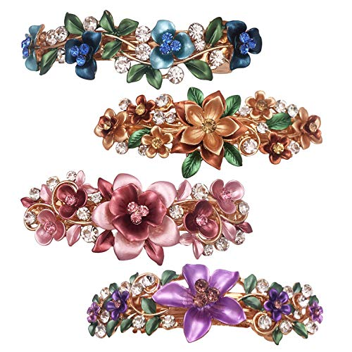 4 Colorful Vintage Decorative Flower Design Metal Gold Tone French Barrettes Hair Clasps Accessories Women Girls