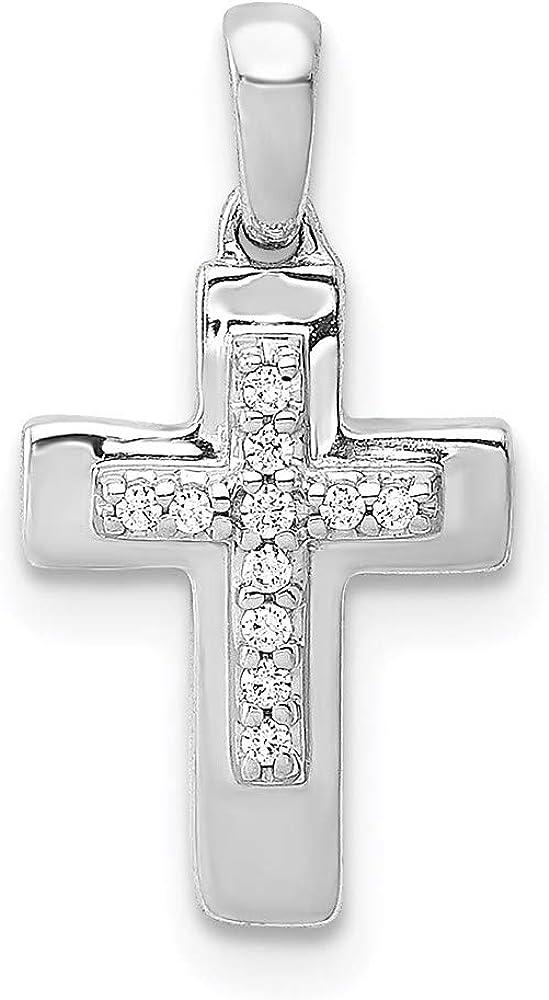 14k Max 68% OFF White Gold Pendant Cross Diamond Max 53% OFF