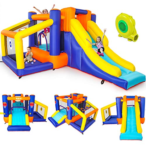 Naice Inflatable Bounce House, Indoors Outdoor Inflatable Bouncers, Slide Bouncer, Jumper Bounce House with 2 Slides, Climbing Wall, Ball Bit House, Pefect for Babies, Toddlers, Kids, Children