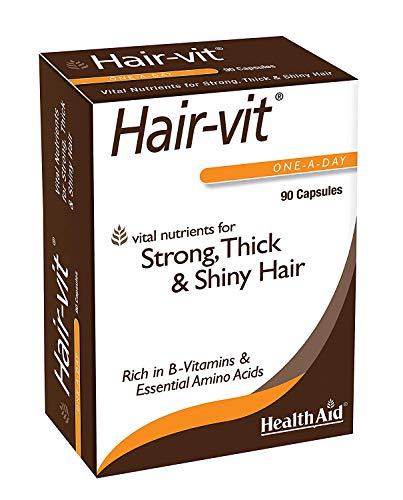 HealthAid Hair Vitamins for Hair Growth with Essential Vitamins and Minerals, 90 Capsules