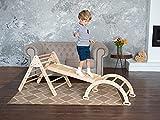 Woodandhearts Set von 3 Dreieck für Kinder Kleinkinder Rock mit Rampe – Montessori Kletterleiter Rutsche – Lernen Waldorf Kletterbogen für Kleinkind – Struktur Schaukeln (kleine Größe)