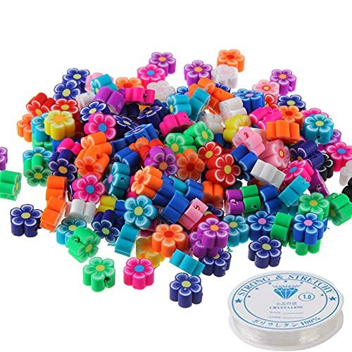 Ousyaah 100pcs Cuentas de Sonrisa, Beads de Flores, Abalorios para Hacer Pulseras, Perlas para Collares, Kit de Fabricación de Joyas para Niñas, Cuentas Emoji para Hacer Pulseras (C)