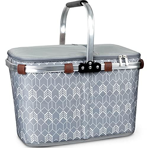 Lekesky 34L Einkaufskorb faltbar mit Kühlfunktion Faltkorb mit Deckel | carrybag | Isolierkorb | Thermokorb klappbar, Grau