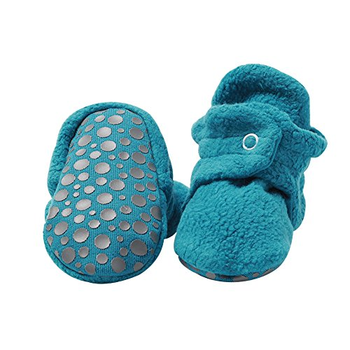 Zutano Cozie Fleece Baby Booties with Grippers, Pagoda, 12M