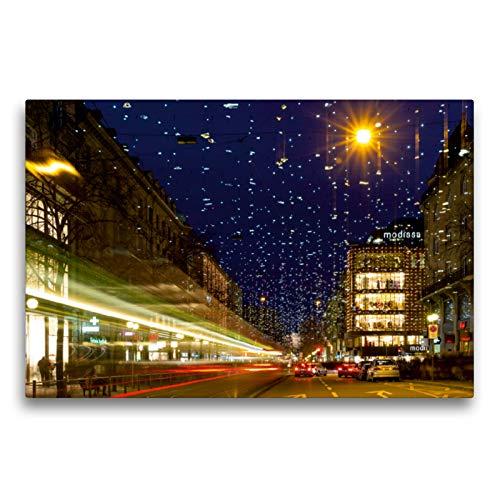 Premium Textil-Leinwand 75 x 50 cm Quer-Format Bahnhofstrasse in Zürich mit Weihnachtsbeleuchtung | Wandbild, HD-Bild auf Keilrahmen, Fertigbild auf hochwertigem Vlies, Leinwanddruck von Enrico Caccia