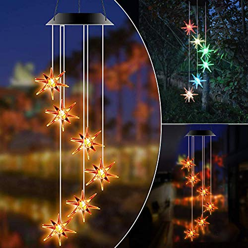 NOIHK Solar Wind Chimes Lights,Wind Chimes Outdoor Unique Color Changing Decoration Waterproof Hanging Lights Wind Bell,Gifts for Mom,Sister,Home Party Night Outdoor,Gardening Gift,Memorial Wind Chime