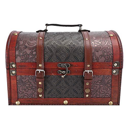 Almacenamiento de joyas, caja de almacenamiento de madera vintage Cofre de joyas...