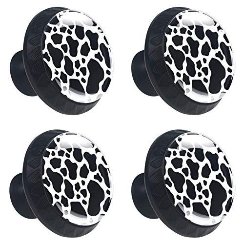 KAMEARI Tiradores de cajón con textura de vaca en blanco y negro, 4 piezas, mango de cristal, forma de círculo, para armario, cajones con tornillos, para casa, cocina, oficina
