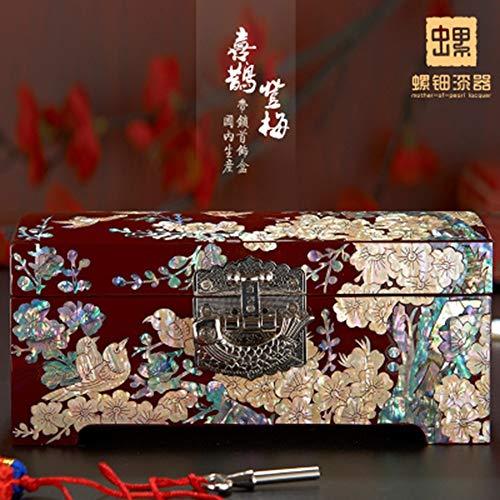 LYQZ Schraube Lack Ware Schmuckschatulle Massivholz Schmuckschatulle Aufbewahrungsbox Hochzeitsgeschenk (Color : Semi-bei Lock)