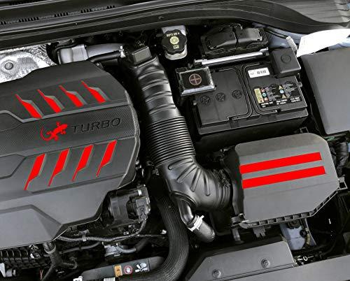 P084 Motorabdeckung Folie Cover Abdeckung Motor Dekor Motorraum Aufkleber Passgenau Bekleben Skin (Neon Rot)