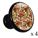 Handgemalte rotbraune Blumen Schubladenknöpfe schwarz Metall Runde Schranktür Griffe mit Kristallglas für die Tür der Kommode Kleiderschrank (4er Pack) 3.2x3x1.7cm