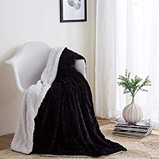 DaDa Bedding Black Throw Blanket - Father's Day Super Soft Warm Cuddly Zig Zag Chevron Luxury Black and White - Plush Luxe Fluffy Faux Fur Sherpa Fleece Non-Shedding for Bed or Sofa - 63