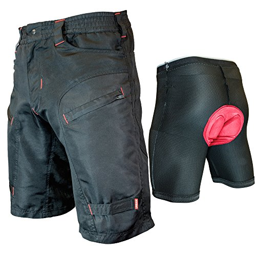 THE SINGLE TRACKER-Mountain Bike Cargo Shorts, With Premium Antibacterial G-tex Padded Undershorts, Large 32-34'
