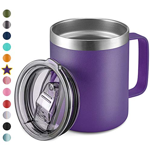 12oz Stainless Steel Insulated Coffee Mug with Handle, Double Wall Vacuum Travel Mug, Tumbler Cup with Sliding Lid, Purple