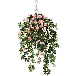Silk Flower Arrangements Hanging Basket with Artificial Vine Silk Azalea Flowers for Outdoor/Indoor, Artificial Hanging Plant in Basket, Ivy Basket Artificial Hanging Plant for Patio Lawn Garden Decor (Champagne)
