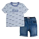 Levi's Baby Boys' Graphic T-Shirt and Shorts 2-Piece Outfit Set, Blue Stripe/Remi, 12M