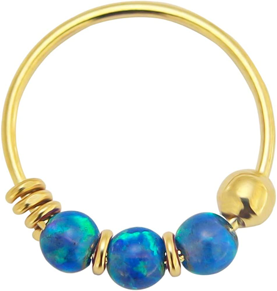 PiercingPoint 9KT Solid Yellow Gold Triple Opal Stone 22 Gauge (0.6MM) - 5/16 Inch (8MM) Length Hoop Nose Ring